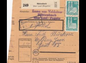 BiZone Paketkarte 1948: Hüttenbach nach Eglfing