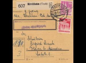 BiZone Paketkarte 1948: Kirchheim (Teck) nach Haar b. München