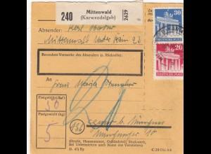 BiZone Paketkarte 1948: Mittenwald (Karwendelgeb.) nach Haar, Nachgebühr