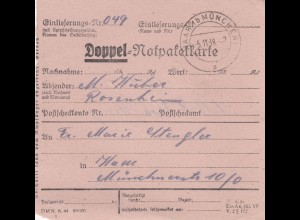 BiZone Paketkarte 1948: Rosenheim nach Haar, Doppel-Notpaketkarte