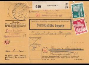 BiZone Paketkarte 1948: Rosenheim 2 nach Haar b. München