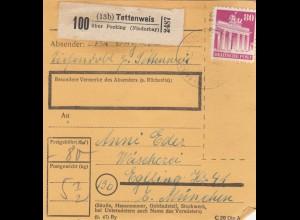 BiZone Paketkarte 1948: Tettenweis nach Eglfing, Wäscherei