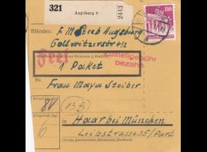 BiZone Paketkarte 1948: Augsburg nach Haar bei München