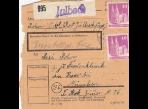 BiZone Paketkarte 1948: Julbach nach Haar, Frauenklinik