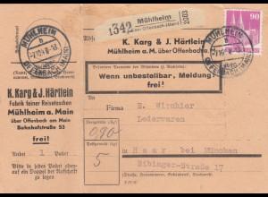 BiZone Paketkarte 1948: Mühlheim nach Haar, Selbstbucherkarte