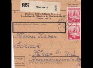 BiZone Paketkarte 1948: München nach Haar b. München, Selbstbucherkarte