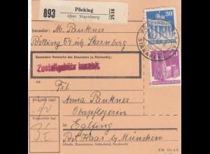 BiZone Paketkarte 1948: Pöcking nach Starnberg, Oberpflegerin