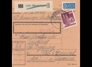 BiZone Paketkarte 1948: Memmingen nach Gmund a. Tegernsee