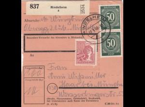 BiZone Paketkarte 1948: Mindelheim nach Haar bei München