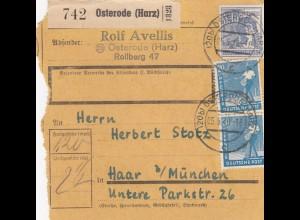BiZone Paketkarte 1948: Osterode nach Haar bei München