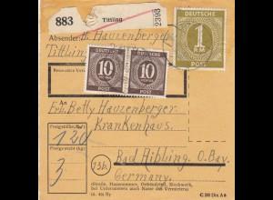 BiZone Paketkarte 1948: Tittling nach Bad Aibling