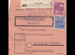 BiZone Paketkarte 1948: Ehekirchen nach Eglfing, Heil- und Pflegeanstalt
