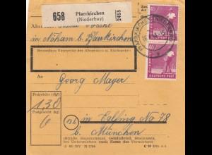 BiZone Paketkarte 1948: Pfarrkirchen nach Eglfing nach München