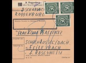 BiZone Paketkarte 1947: Roggenburg nach Feilnbach
