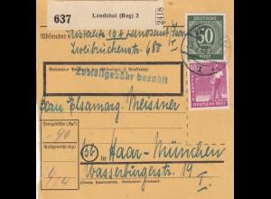 BiZone Paketkarte 1948: Landshut nach Haar-München