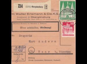BiZone Paketkarte 1948: Obergünzburg nach Haar bei München