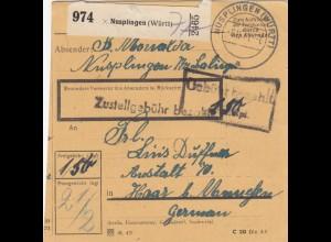 BiZone Paketkarte 1947: Nusplingen nach Haar b. München, Anstalt