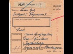 BiZone Paketkarte 1947: Stuttgart nach Zollersberg Tegernsee