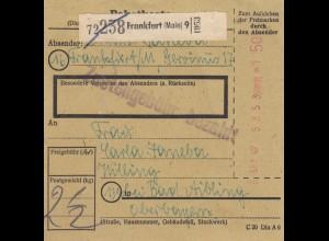 BiZone Paketkarte 1947: Frankfurt nach Bad Aibling