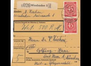 BiZone Paketkarte 1948: Wiesbaden nach Eglfing-Haar, Wert 500 RM