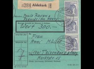 BiZone Paketkarte 1948: Aldekerk nach Teisendorf, besond. Formular, Wert