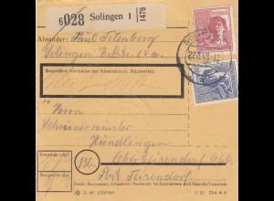 BiZone Paketkarte 1948: Solingen nach Oberteisendorf, Wert