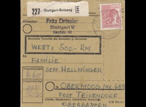 BiZone Paketkarte 1948: Stuttgart nach Obermoos, Wert 500 RM