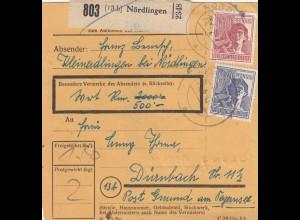 BiZone Paketkarte 1948: Kleinerdlingen bei Nördlingen nach Dürnbach, Wert 500 RM