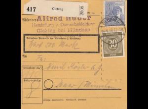 BiZone Paketkarte 1948: Olching nach Haar, Wertkarte 500 Mark