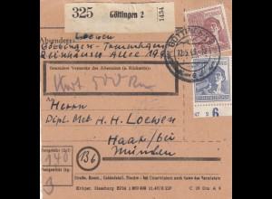 BiZone Paketkarte 1948: Göttingen nach Haar bei München, Wertkarte 500 RM