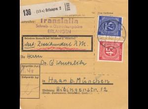 BiZone Paketkarte 1948: Erlangen nach Haar, Wertkarte 200 RM