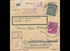 BiZone Paketkarte 1947: München nach Gmund, Wertkarte