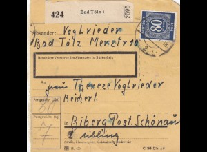 BiZone Paketkarte 1946: Bad Tölz nach Biberg Post Schönau