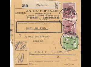 BiZone Paketkarte 1948: München nach Haar, Selbstbucherkarte mit Wert, 400 RM