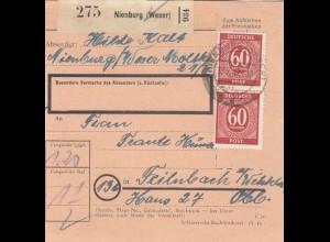 BiZone Paketkarte 1947: Nienburg nach Feilnbach