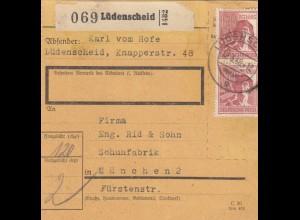 BiZone Paketkarte 1948: Lüdenscheid nach München