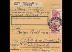 BiZone Paketkarte 1947: Radevormwald-Bergerhof nach Feilnbach
