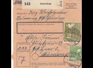 BiZone Paketkarte 1948: Schwindegg nach München