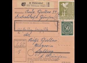 BiZone Paketkarte 1948: Dietersdorf nach Eglfing