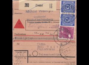 BiZone Paketkarte 1948: Zirndorf nach Teisendorf, Nachnahme