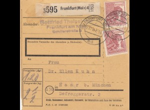 BiZone Paketkarte 1947: Frankfurt Main nach Haar bei München