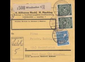 BiZone Paketkarte 1947: Wiesbaden nach Neukeferloh, Selbstbucherkarte