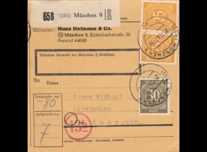 BiZone Paketkarte 1947: München nach Haar, Selbstbucherkarte