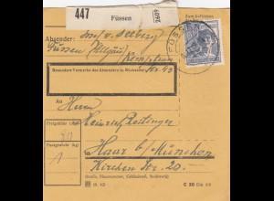 BiZone Paketkarte 1947: Füssen nach Haar b. München