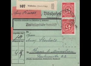 BiZone Paketkarte 1948: Vilshofen nach Haar, seltenes Formular, Selbstbucher