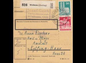 BiZone Paketkarte 1948: Weilheim (Oberbay) nach Eglfing-Haar, Heilanstalt