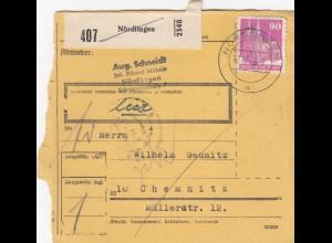 BiZone Paketkarte 1948: Nördlingen nach Chemnitz