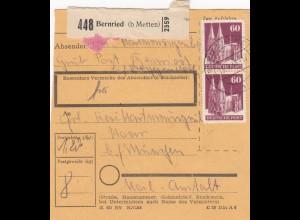BiZone Paketkarte 1948: Bernried nach Haar bei München, Heilanstalt