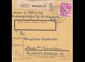 BiZone Paketkarte 1948: Mannheim nach Haar