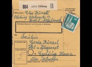 BiZone Paketkarte 1948: Olching nach Eglfing, Heilanstalt